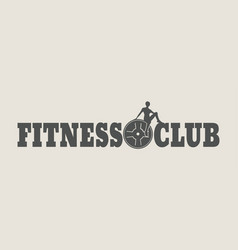 woman silhouette on fitness club text vector image
