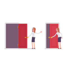 Young smiling female clerk opening red door and vector
