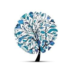 Art tree winter season concept for your design vector image