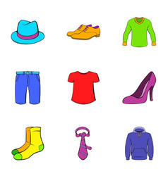 Articles of clothing icons set cartoon style vector