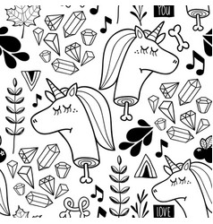 Endless background with doodle head of unicorn vector
