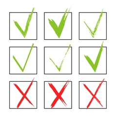 Set of hand-drawn check marks sketch watercolor vector