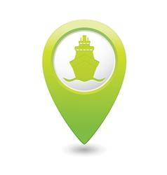 ship icon green map pointer vector image