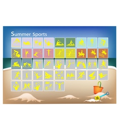 A mega set of 41 summer sport icons vector