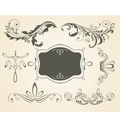 Vintage scrolls and frame des vector