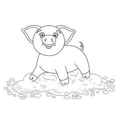 Funny piggy standing on dirt puddle coloring book vector