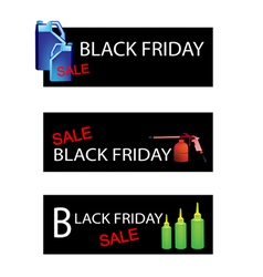 Engine oil packaging on black friday sale banners vector
