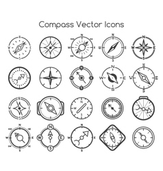 Compass line icons vector