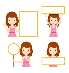 Girl in pink dress showing blank signs set vector