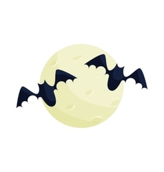Full moon and bats icon cartoon style vector