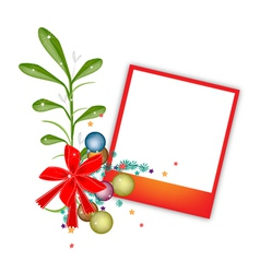 A Red Blank Photos with Mistletoe Bunch vector image