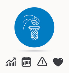 basketball icon basket with ball sign vector image