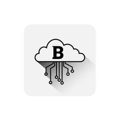 bitcoin cloud icon digital web money crypto vector image