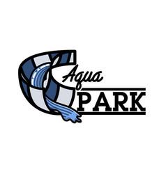 Color vintage aquapark emblem vector