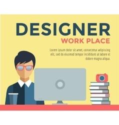 Designer on work place logo vector image vector image