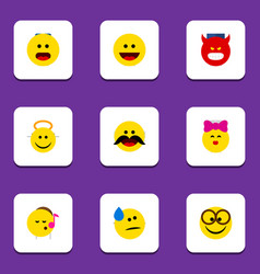 Flat icon face set of cheerful pouting wonder vector
