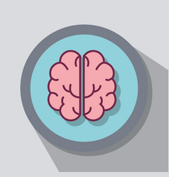 Flat line smart brain concept vector