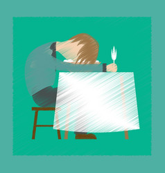 Flat shading style icon man sleeping at desk vector