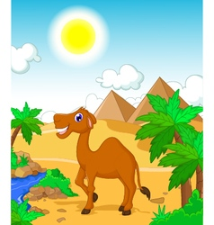 Funny camel cartoon with desert landscape backgrou vector