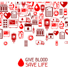 give blood save life background with blood vector image vector image