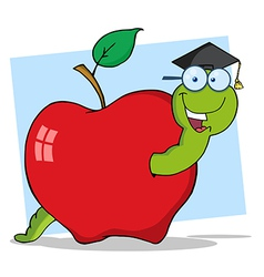 Graduate Worm In Apple vector image vector image