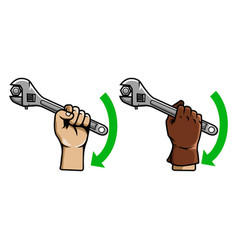 Hand using wrench vector