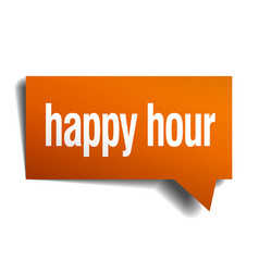 Happy hour orange speech bubble isolated on white vector