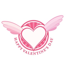 happy valentine day stamp with heart and wings vector image vector image
