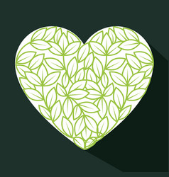 heart and leaves design vector image