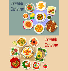 Israeli cuisine shabbat dinner icon set design vector