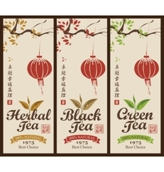 Labels for the black green and herbal tea vector
