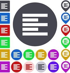 Left alignment icon set vector