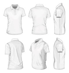 Mens white short sleeve polo-shirt vector image
