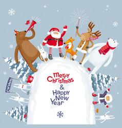 merry christmas mountain vector image vector image