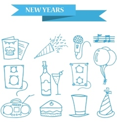 Object new year icons collection stock vector