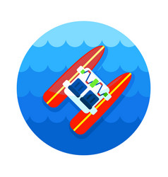 Pedalo boat beach icon summer vacation vector