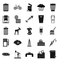preserve icons set simple style vector image