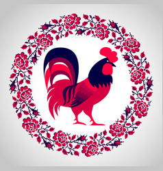 Red fire rooster vector