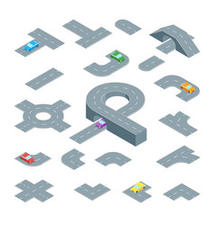 road element set isometric view vector image vector image