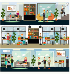 set of business posters banners in flat vector image
