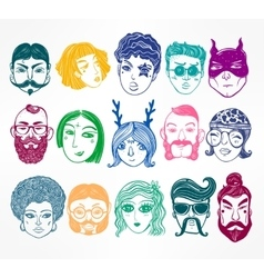 Set of diverse people faces vector