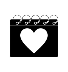 Silhouette valentine day calendar love heart date vector