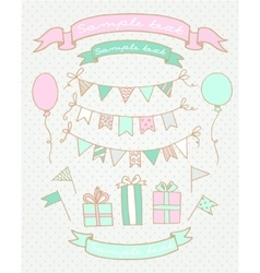 Sketches of birthday party elements vector