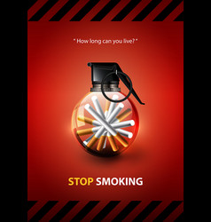 stop smoking advertisement tobacco grenade vector image