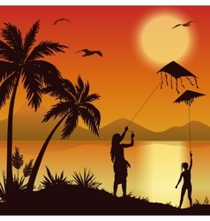 Tropical sea landscape with palms and surfer vector