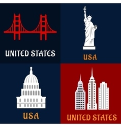 United State landmark and travel flat icons vector image vector image