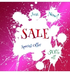 white blot with Sale tag over bright pink vector image