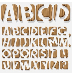 Wooden 3d alphabet vector