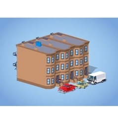 Low poly brownstone town house vector