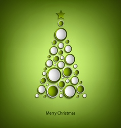 Christmas card with tree of green rings template vector image